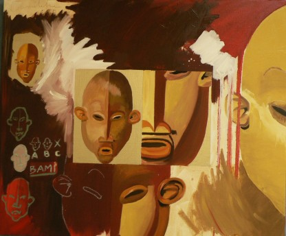 Bami Peinture à l'huile sur toile Environ 75 x 50 cm