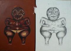Chupicuaro 1 Peinture à l'huile et sable sur toile Environ 55 x 40 cm