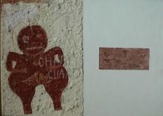 Chupicuaro 3 Peinture à l'huile et sable sur toile Environ 55 x 40 cm