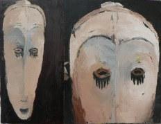 Fang Peinture à l'huile sur toile Environ 40 x 30 cm