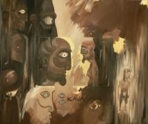 Kava Peinture à l'huile sur toile Environ 60 x 45 cm