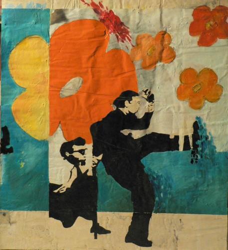 Peinture à l'huile et mine de plomb sur affiches déchirées contrecollées sur support en boisEnviron 55 x 40 cm