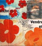 Peinture à l'huile et mine de plomb sur affiches déchirées contrecollées sur support en bois Environ 55 x 40 cm