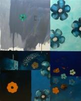 Peinture à l'huile et techniques mixtes sur toile Environ 140 x 90 cm VENDU