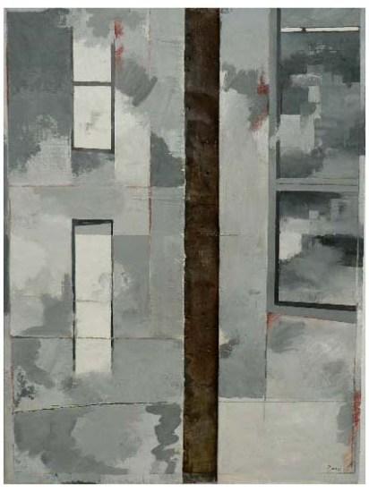 Peinture à l'huile et zinc sur support en bois 80 x 60 cm