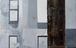 Variation B1 CHU - peinture à l'huile et zinc sur bois - 38 x 24 cm