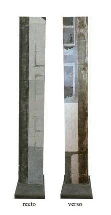 Variation C1 CHU - Sculpture - techniques mixtes (peinture, métal, bois) - 140 x 25 x 4 cm - Socle intégré en béton gris