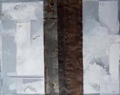 Variation D2 CHU - peinture à l'huile et zinc sur bois - 55 x 40 cm