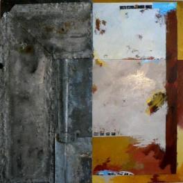 Variation J1 CHU - Peinture à l'huile et zinc sur bois - 70 x 70 cm