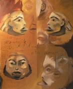 Yup'Ik Peinture à l'huile sur toile Environ 70 x 50 cm