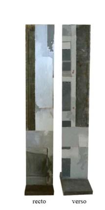 Variation C2 CHU - Sculpture sur support bois - Peinture à l'huile et zinc incrusté - environ 120 x 25 x 5 cm